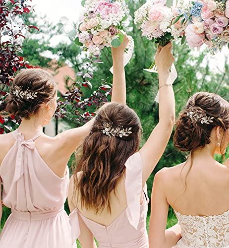 SWEETV 12Pcs Gold Wedding Hair Pins for Bridesmaid Hair Pieces for Wedding, Bridesmaid Hair Accessories for Wedding( for 6 Bridesmaids)