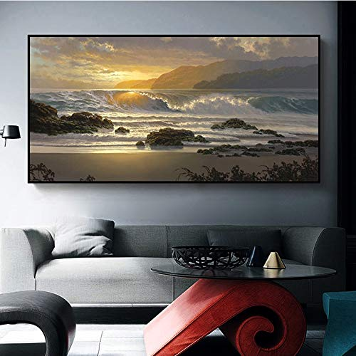 ganlanshu Sonnenuntergang Naturstrand Landschaft Poster und Ölgemälde Wandbild Wohnzimmer Kunst Malerei abstrakte Leinwand,Rahmenlose Malerei,60x120cm