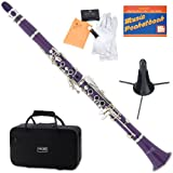 Mendini by Cecilio Bb Clarinet w/1 Year Warranty, Stand, Tuner, 10 Reeds, Pocketbook, Mouthpiece, Case (Purple)