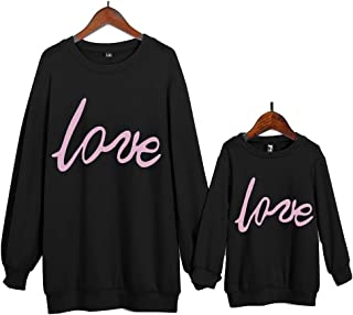 Mommy and Me Fashion Pullover Love Print Matching Top Sweatshirt