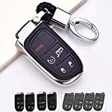 ROYALFOX(TM 2 3 4 5 Buttons TPU Smart Remote Key Fob case Cover for Chrysler 300 200 Dodge Charger Challenger Dart Durango Journey,Jeep Grand Cherokee Renegade Fiat Freemont (Silver)