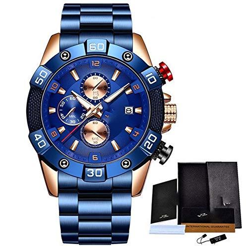 MAID Guapo Reloj de Hombre Elegante Brillante, Relojes para Hombres con Correa de Silicona Top de Marca de Lujo Deportivo cronógrafo Reloj de Cuarzo Masculino Hombres Reloj de Negocios