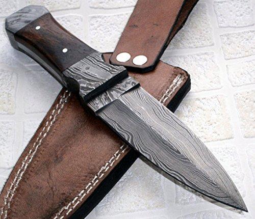 BC-T-21 Handmade Damascus Steel 09.00 Inches Dagger Knife - Walnut Wood Handle