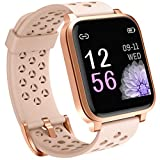 Pard 2020 Smart Watch, Full Touch Fitness Tracker with Dynamic Heart Rate Monitor, IP68 Waterforoof Sport Wristband for Men Women Kids, Pink