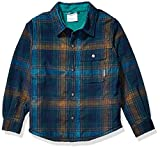 Columbia Boys' Big Windward Sherpa-LinedShirt Jacket, Pine Green Plaid, XX-Small