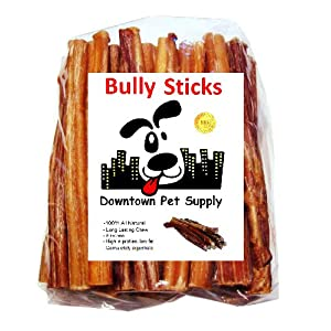 Downtown Pet Supply Dog Bully Sticks and Healthy Dental Chews Treats – All Natural Beef, for Small Medium and Large Dogs (6″, 1 lb)