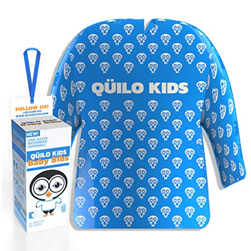 QÜILO KIDS – Disposable & Portable Baby Bibs 6 Months and Up – Long Sleeve Smock 10 Pack for Drooling, Arts & Craft – Kids & Toddler Waterproof Bib – Plastic BPA Free & Biodegradable (Blue & White)