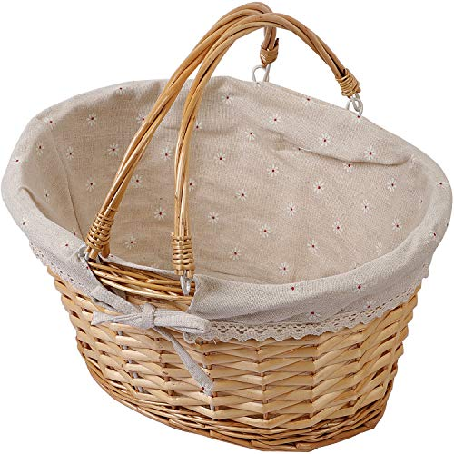 KINJOEK Wicker Woven Basket, Multipurpose Natural Willow Basket with Handle Premium Linen Cotton Cloth Lining for Storage and Decoration, Natural