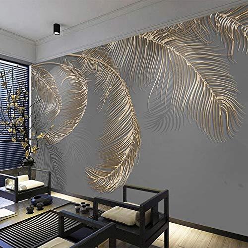 Abstraktes Licht Luxus 3D Feder Golden Relief Linien Foto Wallpaper Modernes Wandbild Wohnzimmer TV Studie Kunst Wallpaper-150Cmx105Cm