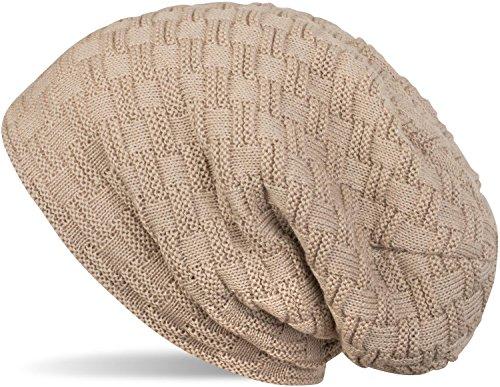 styleBREAKER warme Feinstrick Beanie Mütze mit Flecht Muster und sehr weichem Fleece Innenfutter, Unisex 04024058, Farbe:Hellbraun