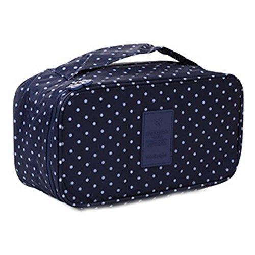 Grande Capacité Portable Voyage Cosmetic Bag Bleu foncé Dots Wash Bag