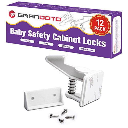 Baby Safety Cabinet Locks 12 Pack White-Grandoto Baby Proofing & Child Safety Cabinets Drawer Locks,DIY Easy to Install,No Tooling, Stronger Safety!