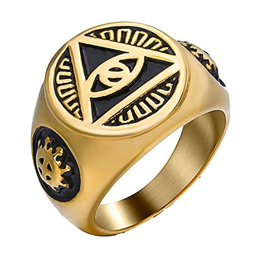 Mens Boys Gold Illuminati La pirámide illunati del ojo que todo lo ve / símbolo del ojo Anillo de acero inoxidable Biker Jewelry 7 Gold
