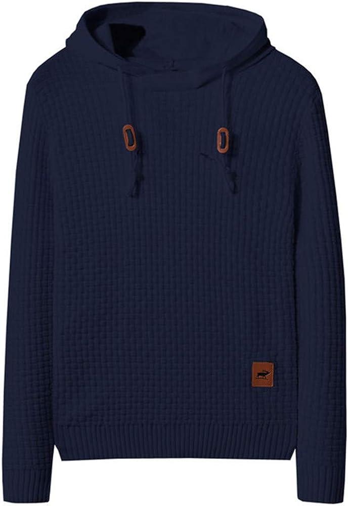 Men'S Knitted Pullover Long-Sleeved Slim Fit Hoodie Basic Jumper