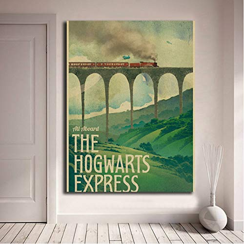 yhnjikl Harry Potter Poster New Vintage Hogwarts Express Canvas Posters Prints Wall Art Painting Decorative Picture Modern Home Decor HD 40x60cm Ohne Rahmen