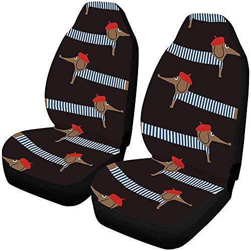 Bezüge für Autositze im französischen Stil, niedlich, Cartoon-Design, 2 Sitzbezüge, für Vordersitze, nur universal, passend für 14 – 17 Zoll