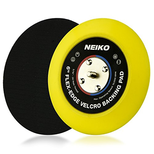 Neiko 30267A Flexible Edge Hook and Loop PU Backing Pad for DA Sander Polisher Buffer | 6-Inch, 10,000 RPM, 5/16