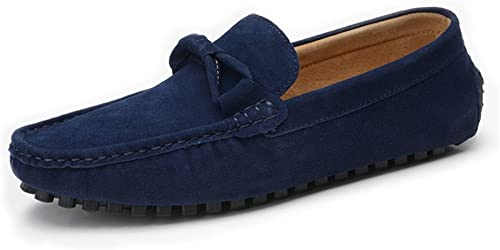 Z.L.F Herren Oxford Schuhe Driving Loafers Fliege Dekor echte Moderne Lederschuhe Weißhe Sohle Penny Mokassins (Farbe   Marine, Größe   9 MUS)