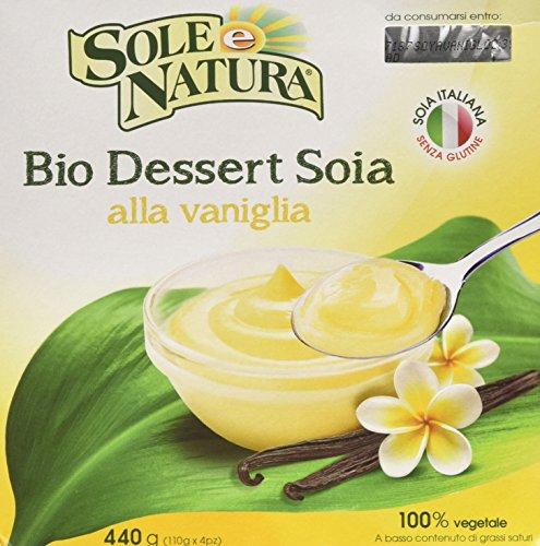 Sole e natura Dessert Soia Alla Vaniglia - 6 confezioni da 4 pezzi da 110 g [24 pezzi, 2640 g]