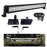 WeiSen For 2010-2018 RAM 2500/3500/4500 4th Gen Lower Bumper Grille 32' 180W Straight LED Light Bar Mount Brackets Kit w/Heavy Duty Tow Hooks & Wiring Harness