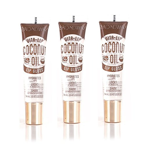 Broadway Vita-Lip Clear Lip Gloss 0.47oz/14ml (BCLG0301- Coconut Oil), Pack of 3