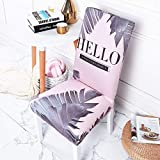 Palm Leaf 6 Pack Office Chair Cover Stretch Hello Removable Washable Short Dining Chair for Home, Restaurant, Party Fuchsia