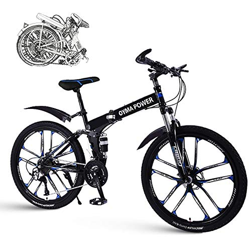 HUZONG 26 Inch Double Disc Brakes Mountain Bike, Folding Outroad Bicycle for Teens, Adults, Men, Women, 21 Speed ​​Gears Cycle Shimano Full Suspension MTB Bikes, Lightweight High Carbon Steel Frame