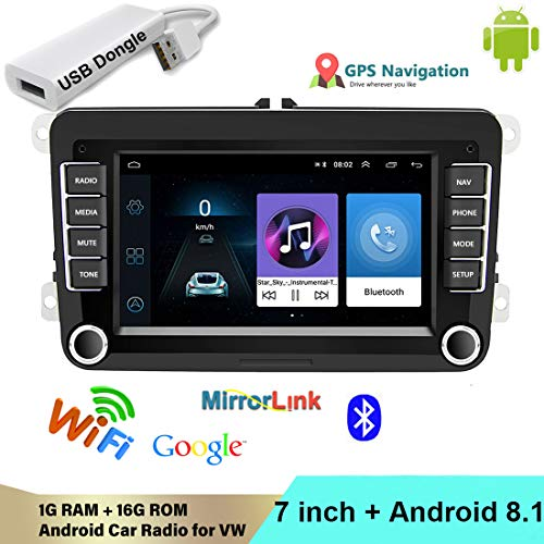 VIGORFLYRUN PARTS LTD 2 DIN Android Car Radio Reproductor Multimedia Bluetooth WiFi Enlace Espejo Navegación GPS FM para V/W/Golf/Polo/Jetta/Passat/Skoda/Octavia con USB Dongle