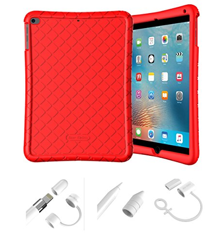 Bear Motion Silicon Case for iPad 9.7 2018 2017 / iPad Air 2 / iPad Air and Apple Pencil Cap Holder Cover Shockproof Silicone Protective Cover (Red Silicon Case + White Apple Pen Holder)