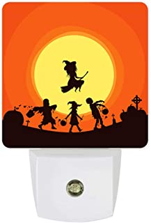 Plug-in Night Lights Halloween Style Flying Witch and Trick-or-Treaters LED Night Lamp with Auto Dusk-to-Dawn Sensor Warm White Light& Ultra Low Power for Bedroom/Bathroom/Hallway/Kid's Room