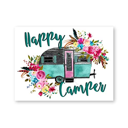 XIANGPEIFBH Canvas Poster print Camper With Flowers Print Watercolor Vintage Blue Camper Bus Wall Picture Decor Coastal Art Decoration 40x60 cm/15.7' x 23.6' No Frame