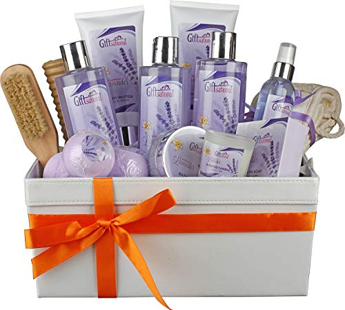 Extra Large Vanilla Lavender Spa Basket, Best For Women and Girls As a Birthday/Christmas/Anniversary Gift, 14 Pc Set Includes Shower Gel, Bubble Bath, Bath Salt, Bath Bomb, Massage Stick & More