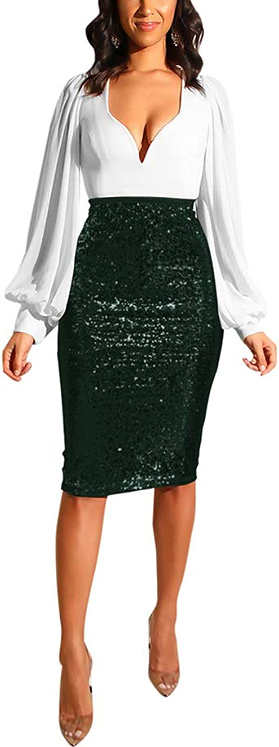 JUNBOON Women's Sequin Skirt Stretchy Bodycon Sparkle Pencil Skirt Party Night Out