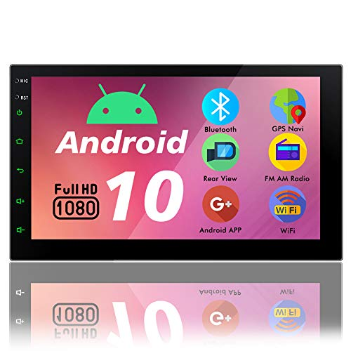 Autoradio Bluetooth 2 Din Radio Android 10.0 Navigation Moniceiver Auto Radio GPS Navigationsgeräte Doppel Din 7 Zoll Bildschirm Kopfeinheit Video Unterstützung FM/AM RDS MP5/3 WiFi AUX USB SWC