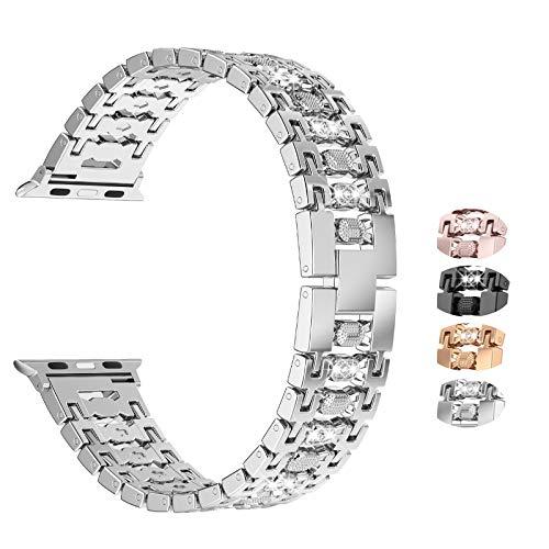 Wearlizer Bling Bracelet Compatible with Apple Watch Bracelet 42 mm 44 mm iWatch SE Series 6 5 4 3 2 1, for iWatch Women's Metal Jewellery Rhinestone Replacement Bracelet Silver