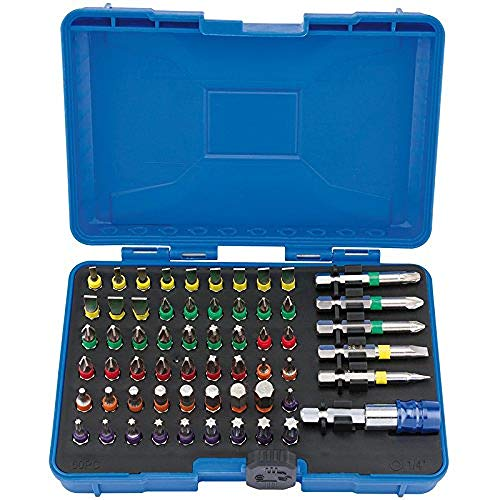 Draper 82405 Coloured Screwdriver Bit Set with Magnetic Holder (60 Piece)