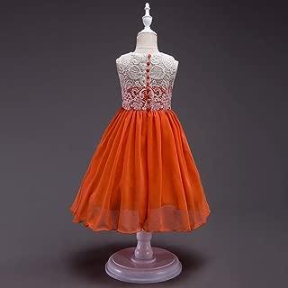Luxury Summer Children's Clothing Princess Dress Embroidered Princess Tutu Skirt Flower Girl Dress Children Dress Buttons Wedding Dress ryq (Color : Orange, Size : 120cm)