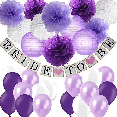 Purple Bridal Shower Decorations Kit-Bride To Be Banner White Lavender Purple Tissue Flower Pom Poms Paper Lanterns Latex Balloons for Purple Lavender Theme Bachelorette Party Wedding Decorations