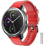 NotoCity para Garmin Vivoactive 3 Correa, Banda de Repuesto de Silicona Suave de 20 mm para Garmin Forerunner 245 / Samsung Gear Sport/Galaxy Watch 42 mm(L,Rojo)