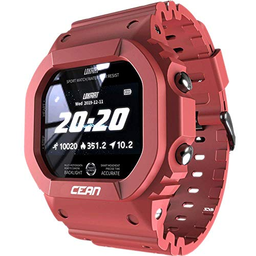 AZPINGPAN Reloj Inteligente, Contador Pasos de Ejercicio físico al Aire Libre Impermeable IP68, Pulsera Inteligente inalámbrica Pantalla Cuadrada de 1,14 Pulgadas, rastreador de monitoreo del sueño