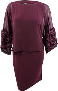 S.L. Fashions womens Asymmetrical Foil Trim Cape Dress Special Occasion Dress