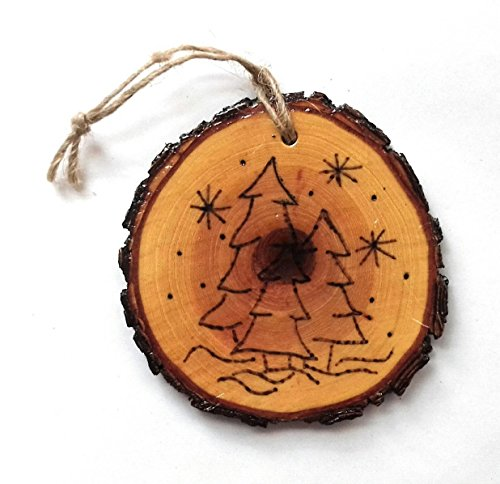 Winter Trees Wooden Wood Burned Christmas Ornament