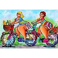 5DDIYダイヤモンドモザイクダイヤモンド刺繡漫画自転車レディ刺繍クロスステッチ家の装飾ギフト フルダイヤモンド-60x70cm