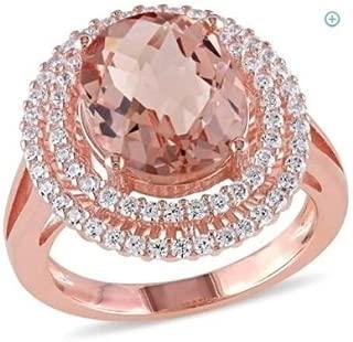 elegantshop Fashion 14K Rose Gold Filled Oval Cut Morganite Wedding Engagenent Ring Sz 6-10 (7)
