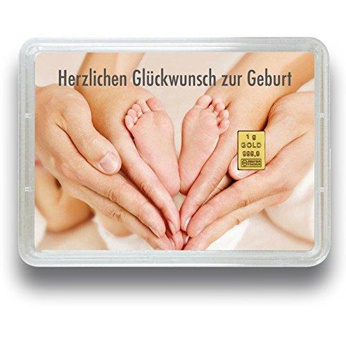 Goldbarren - Goldgeschenk Motivbox - 999.9 Feingold - Valcambi (1g Zur Geburt)