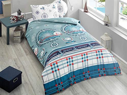 KESTEX Ropa de cama Marine Marine Ocean Ropa de cama azul ancla 135 x 200 cm NAVI, 2 piezas, funda nórdica suave con cremallera + funda de almohada de 80 x 80 cm