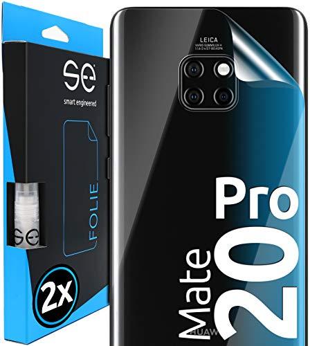 smart engineered [2 Stück] 3D Schutzfolien für die Rückseite kompatibel mit Huawei Mate 20 Pro, durchsichtiger, selbstheilender Schutz vor Dreck & Kratzern, Backcover, kein Schutzglas