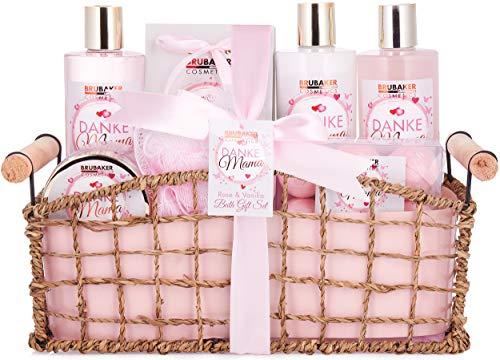 BRUBAKER Cosmetics - Gracias Mamá Set Baño y Ducha del Día de la Madres - Rosa Vainilla - Caja de Regalo en Cesto Decorativa - 13 Piezas