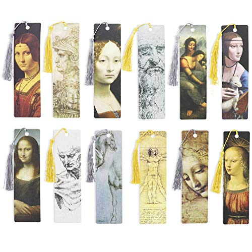 The Gifted Stationery - Segnalibri con nappa, confezione da 24, design Leonardo Da Vinci