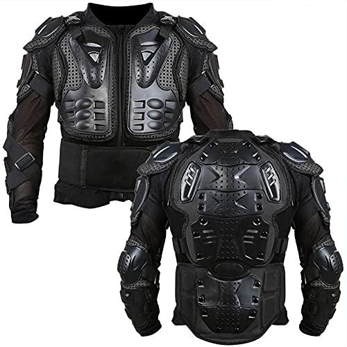 YQZX Chaqueta de la Armadura de la Motocicleta, la Armadura de Cuerpo de la Motocicleta Completa, la Chaqueta, el Protector de Hombro Trasero de la Moto de Fondo S-XXXL,Black-S
